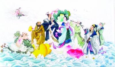 丁红玉所画的《八仙过海》.